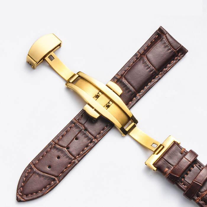 Bracelet Cuir Boucle Or Jaune Papillon déployante Marron