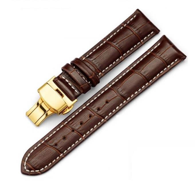 Bracelet Cuir Boucle Or Jaune déployante Marron & Blanc