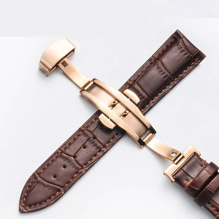 Bracelet Cuir Boucle Or Rose Papillon déployante Marron 16mm 18mm 20mm 21mm 22mm 24mm
