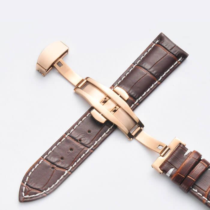 Bracelet Cuir Boucle Or Rose Papillon déployante Marron & Blanc