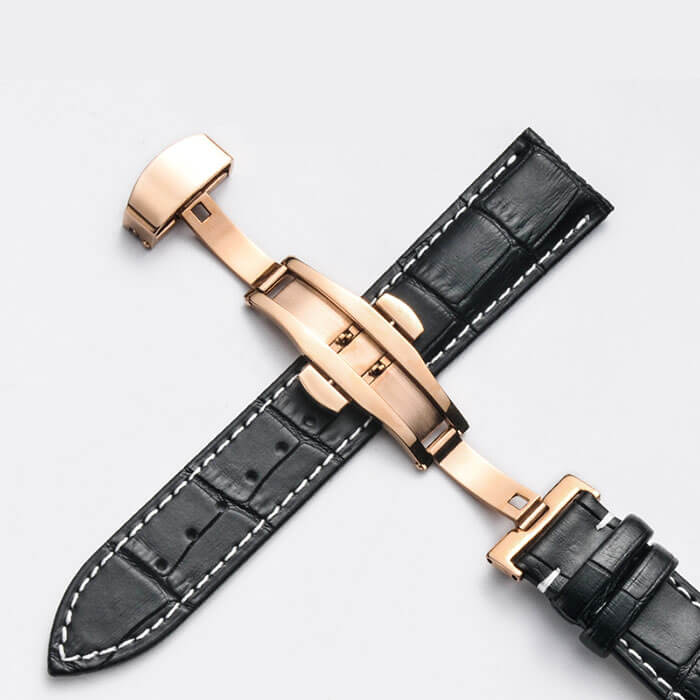 Bracelet Cuir Boucle Or Rose Papillon déployante Noir & Blanc