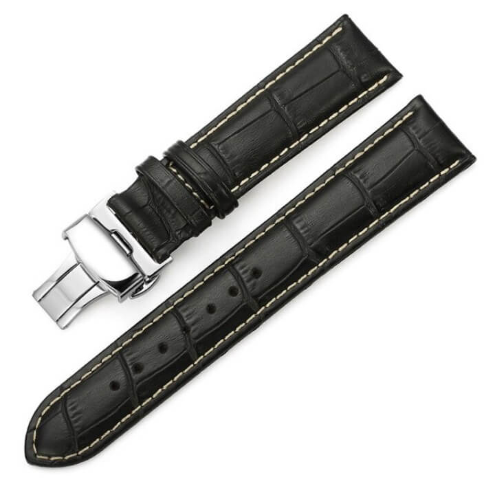 Bracelet Cuir Boucle déployante Noir & Blanc