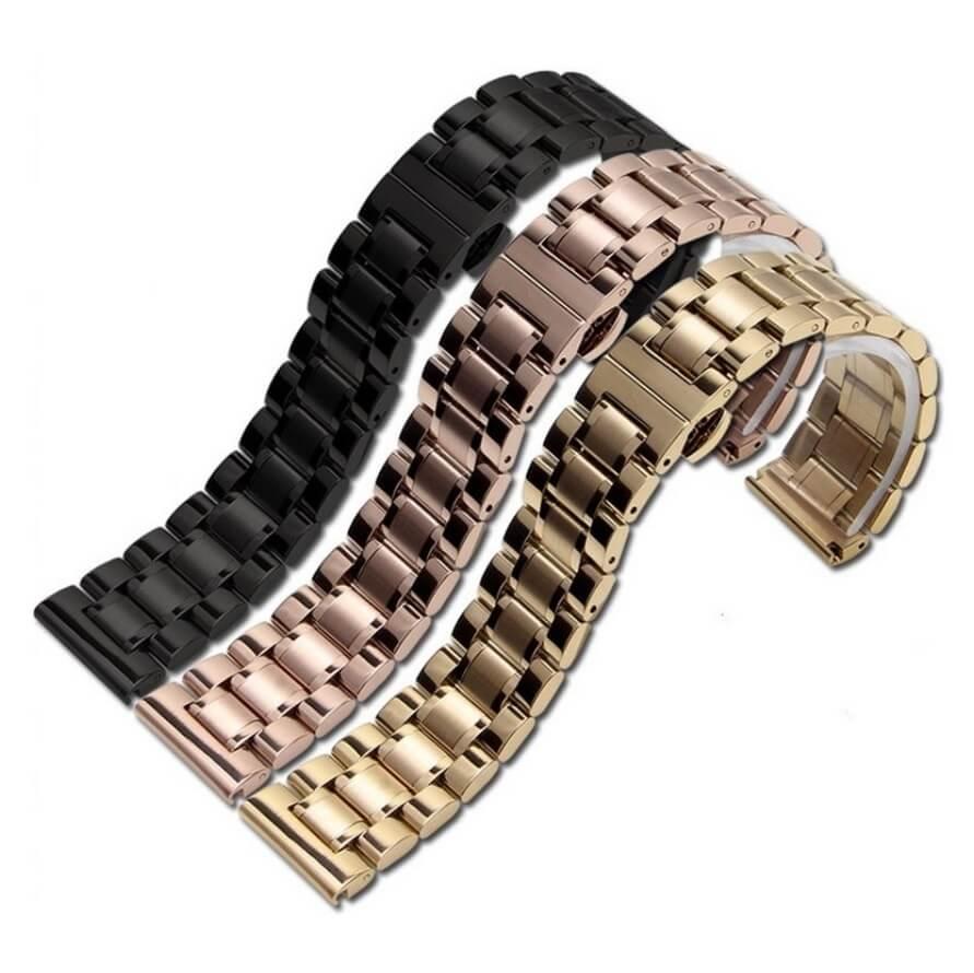 Bracelet Montre Plaqué Or, Noir et Acier