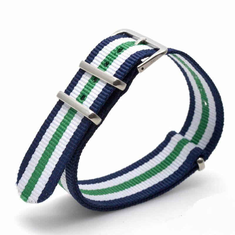 Nato Nylon Vert Blanc Bleu rayures